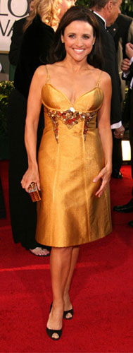 Julia Dreyfus gold dress at the 64th Golden Globes
