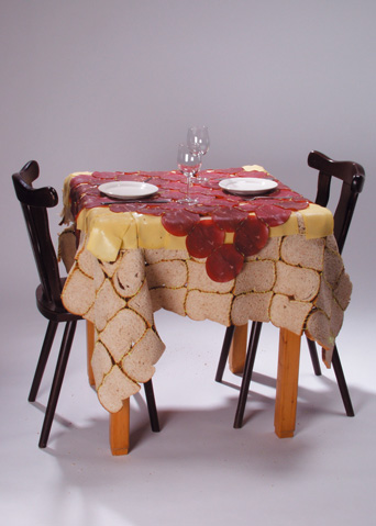 A tablecloth of toast