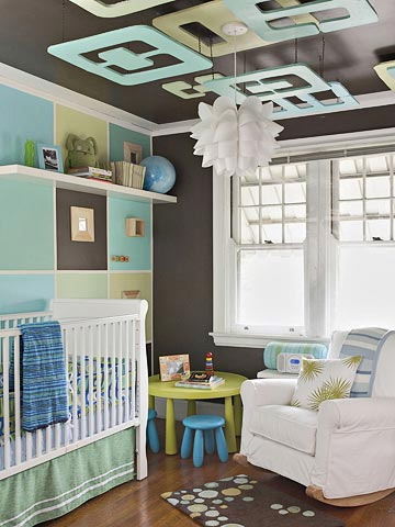 Blue, green, white and chocolate nursery