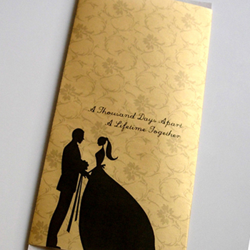 yellow and white wedding invite from Paperbean Design