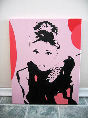 Pink and red Audrey Hepburn canvas print