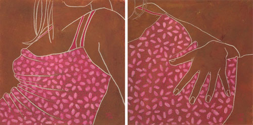 Suzanne Clements pink brown girl original art
