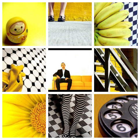 a group of yellow black and white photos