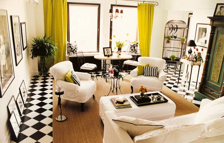 Black and white living room with chartreuse accents