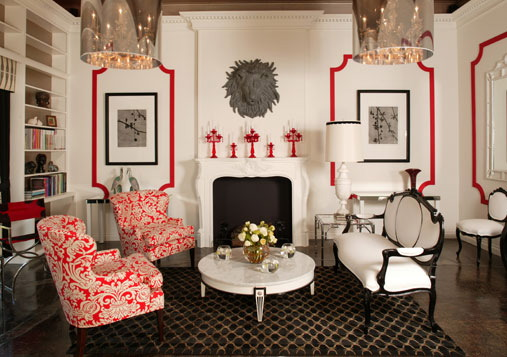 Rummerfield's room in red, black and white