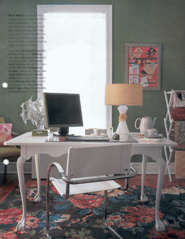Grey-green and white home office in Domino