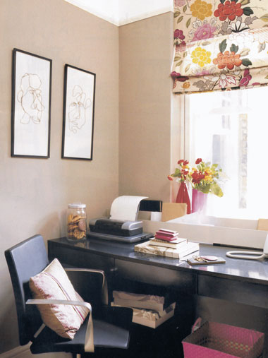 Beautiful fabric curtains in home office