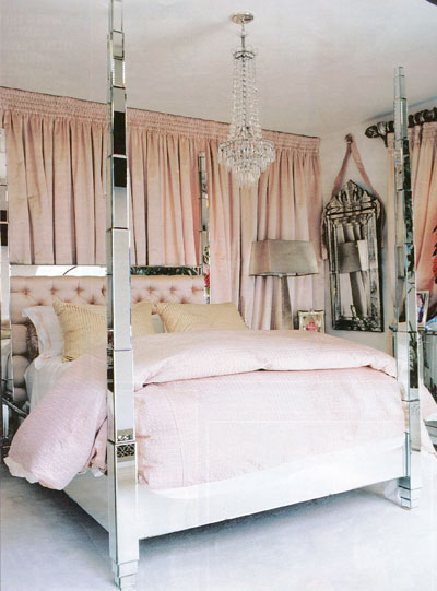 Paris Hilton's mirrored four poster bed