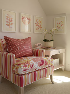 Sarah RIchardson's home pink orange and white armchair