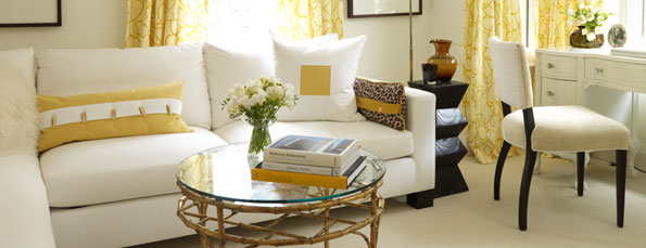 Beautiful yellow and white home office in Sarah Richardson's home