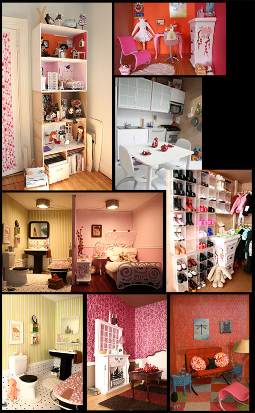 Blythe dollhouse in a bookcase