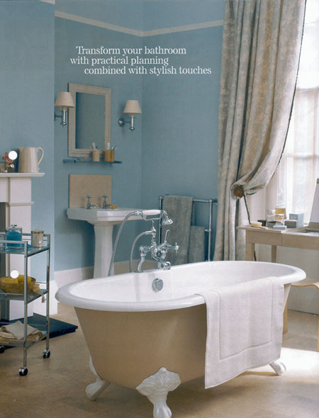 Cream and turquoise bathroom