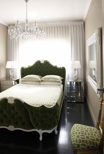 Symmetry in a grey and green bedroom