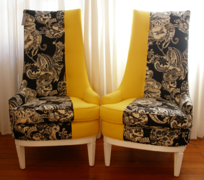 Yellow, black and white chairs sold at Turquoise LA