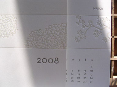 2008 letterpress calendar from moontree press