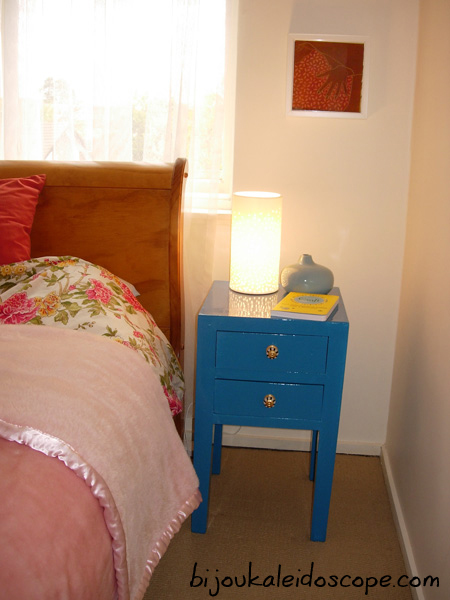The bedside tables after a makeover