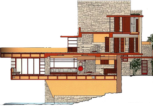 Frank Lloyd Wright designed a Fallingwater overlooking a natural waterfall in the late 1930s