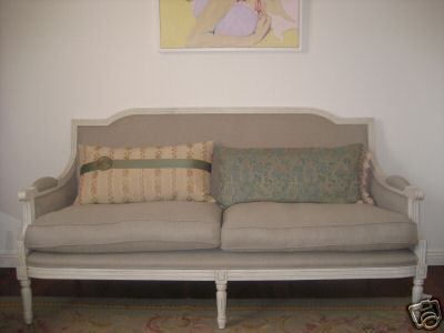 French style linen upholstered 2 seater