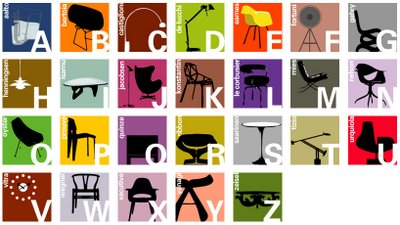 Blue Ant Studio's alphabet poster of mid century furniture