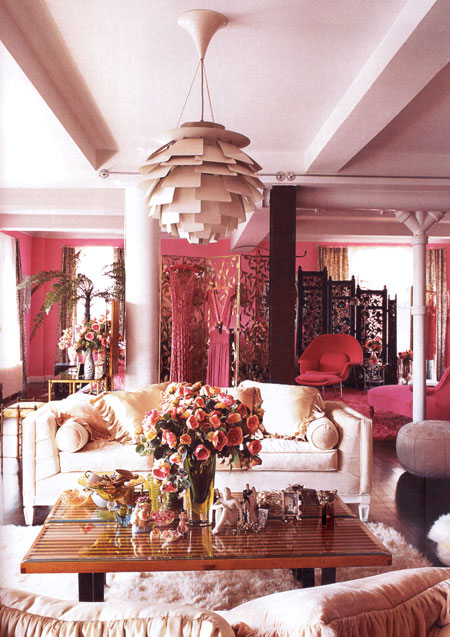 Betsey Johnson's living room in pinks and pinks and creams