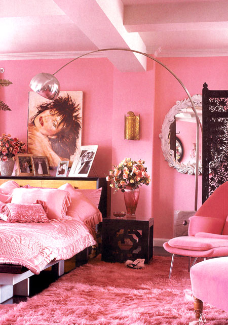 Betsey Johnson's bedroom in pinks and pink shaggy rug