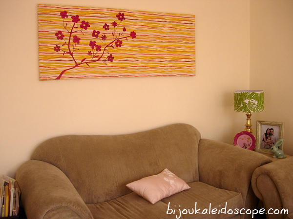 The canvas I painted with Seaweed Stripe