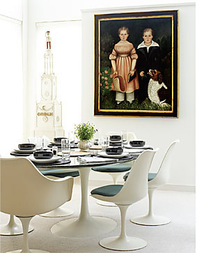 Sebel dining suite with blue grey cushions and placemats