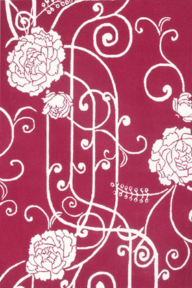 Bellavista climbing rose rug in deep pink and whites