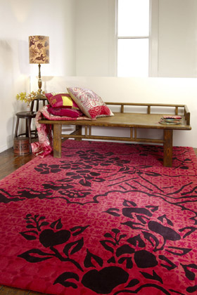 Vixen Blossom rug in luscious black and red floral rug from Designer Rugs