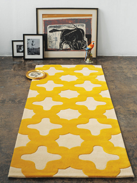 Bev Hisey's yellow and white tiled moroccan rug