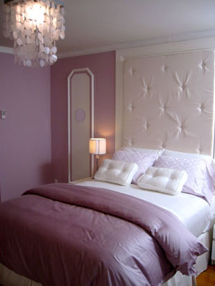 A bedroom in mauves and whites by Kristan Cunningham