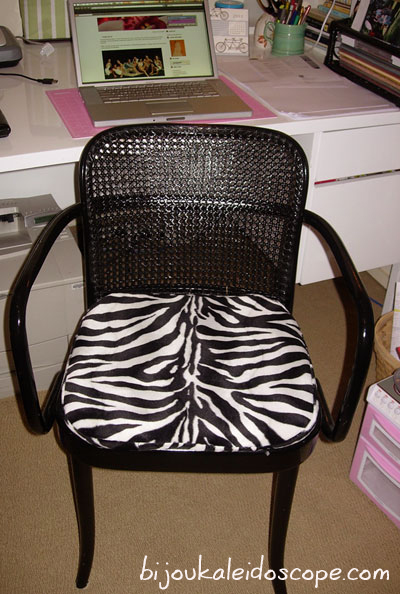 My cane chair after spray painted and cushion made