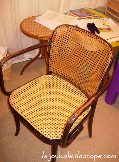 My cane chair before getting a makeover