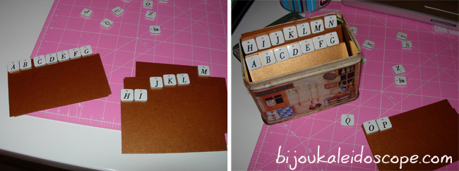 Sticking on the alphabets for my repurposed old cookie tin business card rolodex DIY