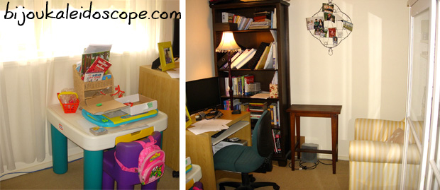 Hannah's and Andrew's corners in the home office room Marc 2008