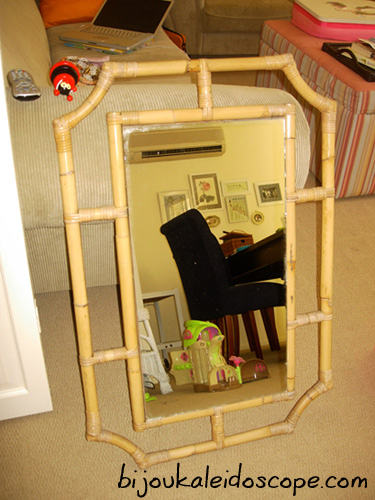 The cane framed mirror I scored from eBay