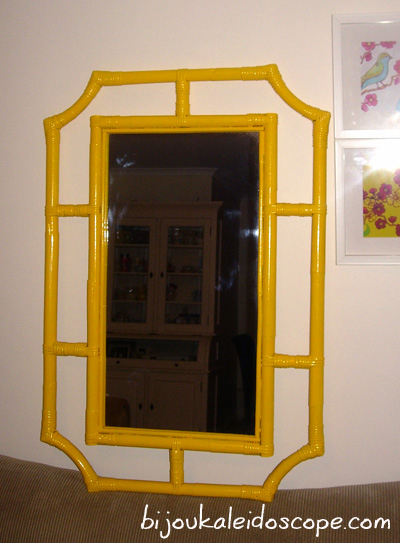 My cane mirror all glossed up a happy yellow