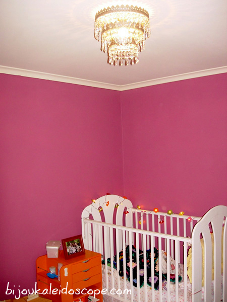 Hannah's IKEA Chandelier with the gorgeous walls.
