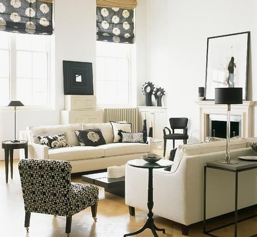 white and black in an all white living room, via Homes and Gardens