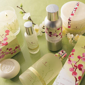 Pretty red cherries and cherry blossom line of beauty products from Wrapables