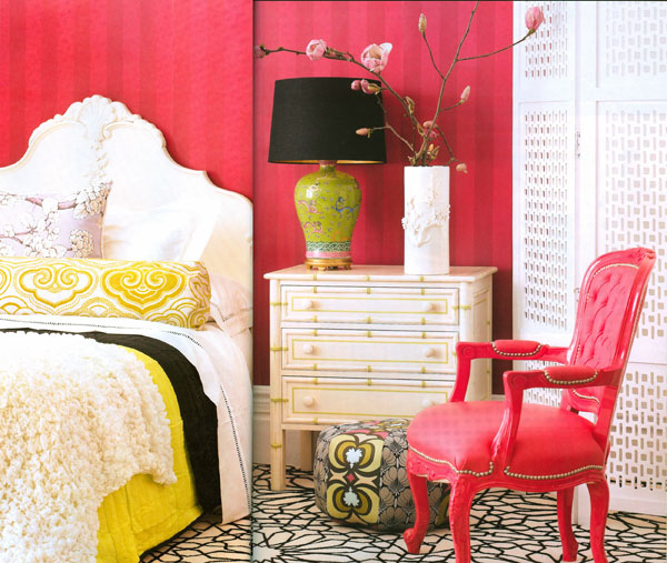 Pink, and white bedroom, via Australian House & Garden, Sep 08
