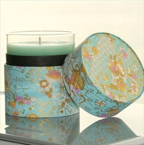 Gold and turquoise candle from Mirror Mirror on the Web