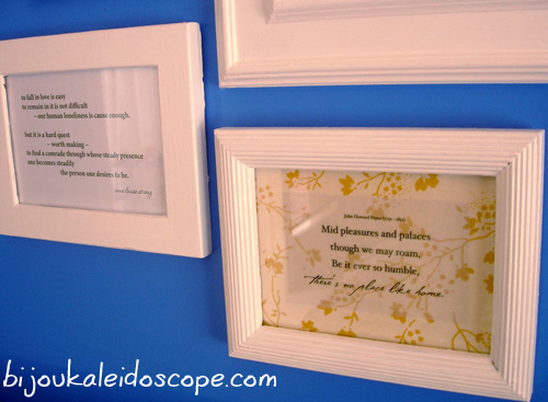 Pretty apricot floral quote in my blue blue bedroom