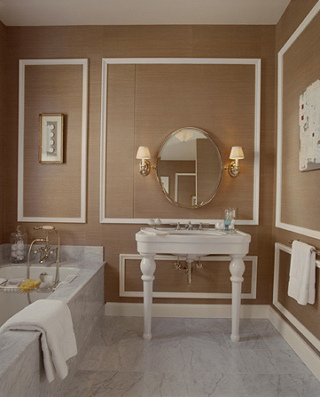 A serene taupe bathroom with pedestal marble sink, via Ashley Roi Jenkins