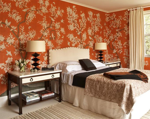 Orange and white bedroom designed by Sara Story Design