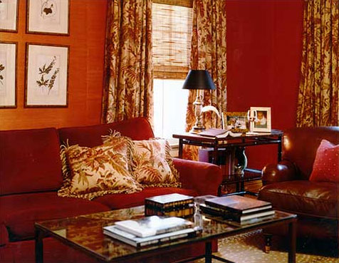 A deep red living room corner, via Sherrill Canet Interiors.
