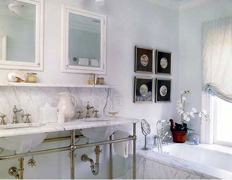A beautiful bright and white bathroom, via Sherrill Canet Interiors.