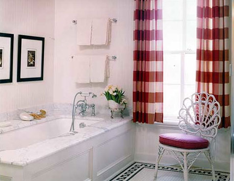 A white and red bathroom, via Sherrill Canet Interiors.
