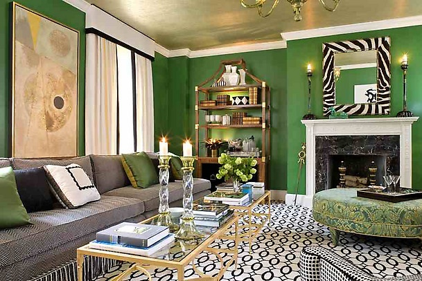 Verdant green living room, via Sherrill Canet Interiors