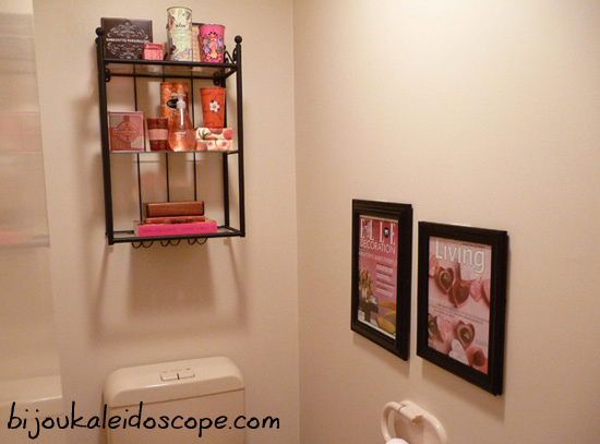 Our toilet complete with my orange and pink items